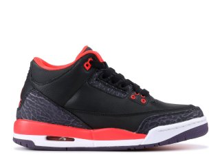 "Air Jordan 3 Retro (Gs) ""Crimson"" Noir Rouge (398614-005)"
