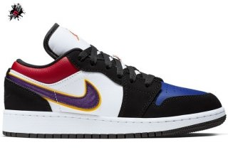 "Air Jordan 1 Low (GS) ""Lakers"" Top 3 Noir Pourpre (553560-051)"