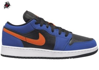 Air Jordan 1 Low (GS) Noir Bleu Orange (553560-480)