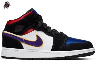 "Air Jordan 1 Mid (GS) ""Lakers"" Top 3 Noir Pourpre (BQ6931-005)"