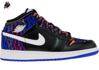 "Air Jordan 1 Mid (GS) ""Multi Color Tiger Stripe"" Noir (AV5174-005)"