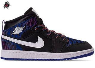 "Air Jordan 1 Mid (PS) ""Multi Color Tiger Stripe"" Noir (AV5173-005)"